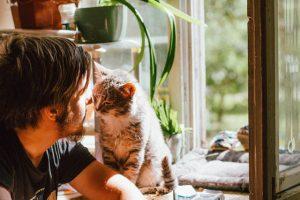 Man and Cat Nose to Nose